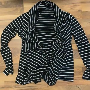 5/$15 Striped Open Front Sweater L